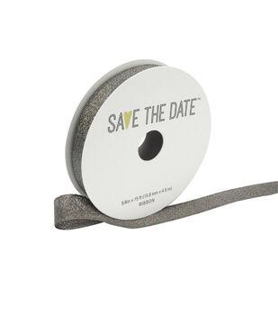 "Save the Date 5/8"" x 15ft Ribbon-Pewter Metallic"