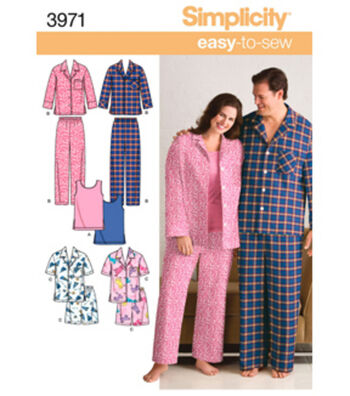 Simplicity Pattern 3971AA Adult Sleep Tops & Bottoms-Size S-M-L