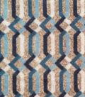 Luxe Fleece Fabric 59\u0022-Navy & Gray Lattice
