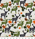 Snuggle Flannel Fabric -Patterned Fall Leaves & Words on Animals