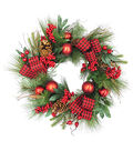 Blooming Holiday Pine, Berry, Buffalo Check Bow & Ornament Wreath