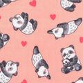 Anti-Pill Plush Fleece Fabric-Panda Hearts