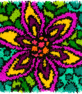 "Colorful Latch Hook Kit 16""X16""-Flower"
