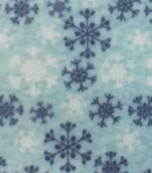 Christmas Anti-Pill Plush Fabric-Blue Snowflakes