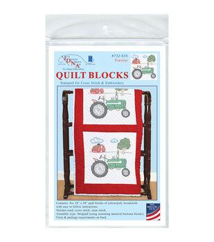 Jack Dempsey Tractor Stamped White Quilt Blocks