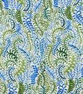 Silky Print Rayon Fabric 53\u0027\u0027-Blue & Green Ferns
