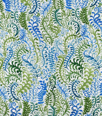 Silky Print Rayon Fabric 53''-Blue & Green Ferns