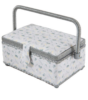 Small Rectangle Sewing Basket-Gray Floral