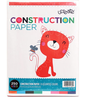 "U-Create Construction Paper 9""X12"" 250/Pkg-8 Assorted Colors"