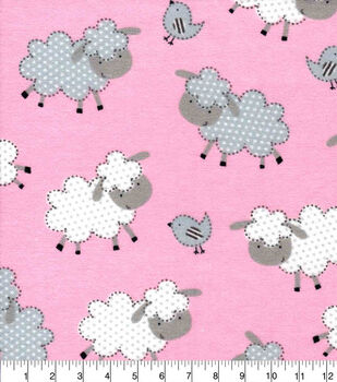 Snuggle Flannel Fabric-Sheepie on Pink