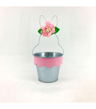Easter Decor Metal Bunny Basket-Pink