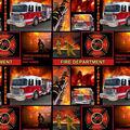 Firefighter Cotton Fabric-Block Allover