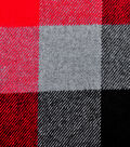 Plaiditudes Brushed Cotton Fabric -Red, Black & Gray Buffalo Check