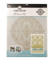 FolkArt Home Decor 21.68''x17.68'' Laser Cut Wall Stencil-Ornate Damask, , hi-res