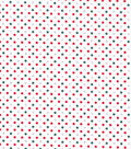 Christmas Cotton Fabric-Red, Green & Glitter Dots on White
