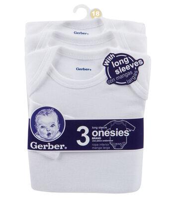 Gerber 3pk Long Sleeve Onesie-18M White