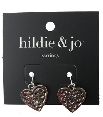 hildie & jo 0.75''x0.88'' Heart Scroll Silver Earrings