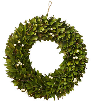 Blooming Autumn 18'' Woodchip & Berry Wreath-Green & White