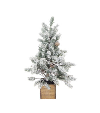 Blooming Holiday 18.5'' Flocked Tree with Pinecones in Wood Box