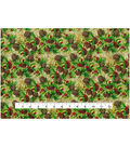 Christmas Cotton Fabric-Pinecones & Berries