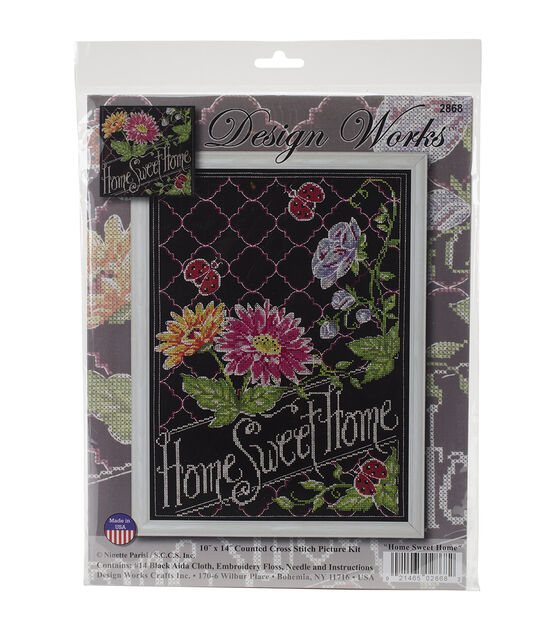 8 by 10 Design Works Crafts Be Happy Chalkboard Counted Cross Stitch Kit