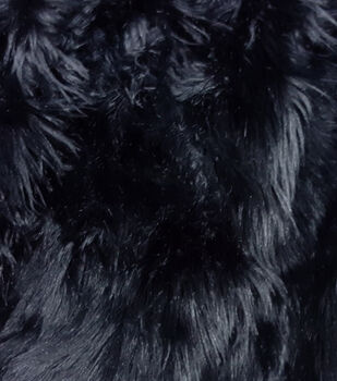 Fashion Faux Husky Fur Fabric -Black