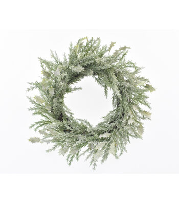 Blooming Holiday Christmas 22'' Glitter Holly Leaf Wreath