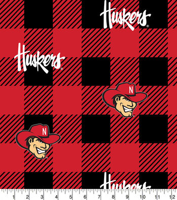 Nebraska Cornhuskers Fleece Fabric-Buffalo Plaid