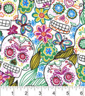 Snuggle Flannel Fabric 42\u0022-Multi Color Skulls