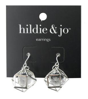 hildie & jo Geometric Silver Earrings-Clear Crystal