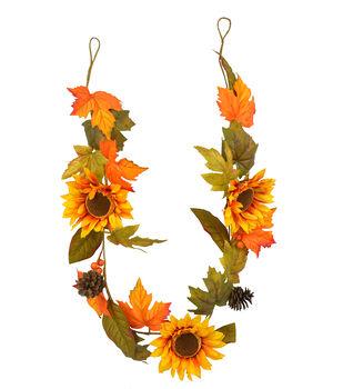 Blooming Autumn 60'' Yellow Sunflower, Pinecone & Leaf Garland