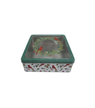 Handmade Holiday Christmas Large Square Cookie Tin with Clear Top-Wreath