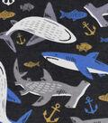 Snuggle Flannel Fabric 42\u0027\u0027-Sharks on Black