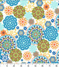 Quilter\u0027s Showcase Cotton Fabric 44\u0027\u0027-Blue, Green & Orange Medallions