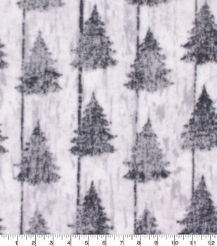 Christmas Anti-Pill Plush Fleece Fabric-Pine Trees on White Wash