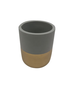 Blooming Autumn Large Mood Cement Container-Gray & Gold