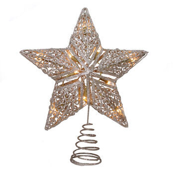 Handmade Holiday Christmas Crimson Traditions Star Tree Topper-Gold