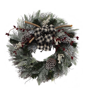 Blooming Holiday Frosted Pine, Pinecone, Berry & Pussy Willow Wreath