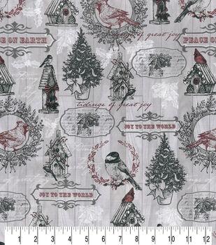 Christmas Cotton Fabric-Bird Houses on Gray Wood