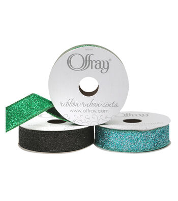 "Offray Wired Glitter Ribbon 7/8"" x 9 Feet"