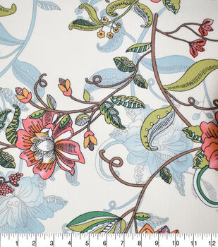 Fast Fashion Bubble Crepe Knit Fabric-Cream Floral