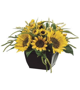 Sunflowers & Amaranth in Metal Container 9''-Yellow & Green