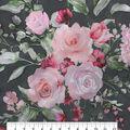 Casa Dahlia Organza Fabric-Floral Print on Black