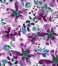 Silky Print Rayon Fabric 53\u0027\u0027-Magenta Watercolor Flowers