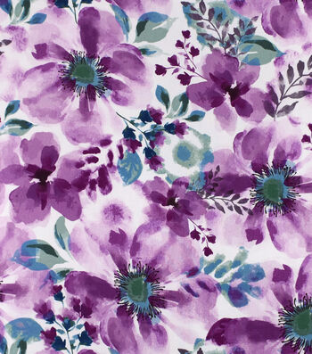 Silky Print Rayon Fabric 53''-Magenta Watercolor Flowers