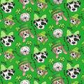 St. Patrick\u0027s Day Glitter Print Fabric -Green With St. Pats Pups
