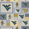 West Virginia University Mountaineers Fleece Fabric -Gray Block