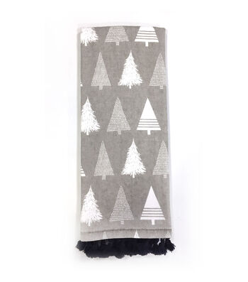 Maker's Holiday Christmas 15''x28'' Kitchen Towel-Trees on Gray
