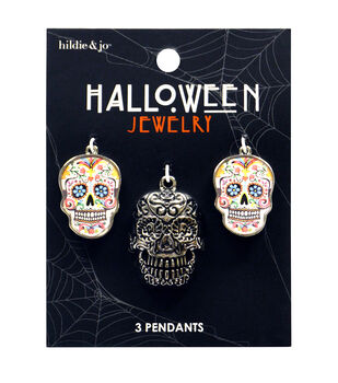 hildie & jo Halloween 3 Pack 3D Sugar Skull Pendants