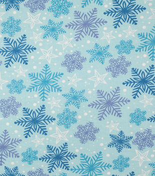 Super Snuggle Flannel Fabric-Blue & Purple Snowflakes